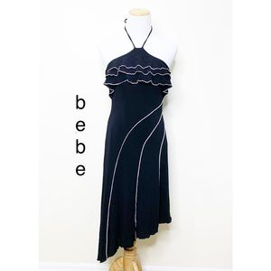 Vintage Bebe Halter top ruffle asymmetric dress